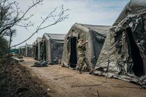 Spital mobil ridicat de armată