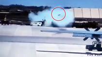 Racheta lansata din greseala de catre un Su-25 parcat pe pista