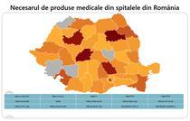 Harta - necesarul de produse medicale din spitalele din România