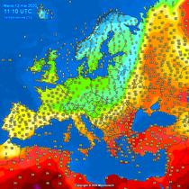 Temperaturile in Europa la pranz, pe 12 mai