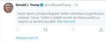 Twitter a sters comentariul lui Trump