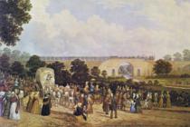 Inaugurarea liniei ferate între Stockton și Darlington, în septembrie 1825 | Pictură de John Dobbin, circa 1875