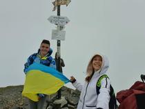 Drapelul Ucrainei, pe Vârful Moldoveanu