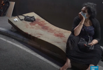 Femeie in curtea unui spital din Beirut