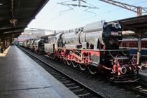 Locomotive cu abur in Gara de Nord la o expozitie din 2014