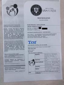 Adeverinta de vaccinare pentru prima persoană din Romania vaccinată împotriva COVID
