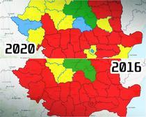 Alegeri parlamentare 2020 vs 2016 - Schimbarea pe judete