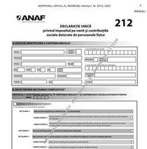 Declaratia unica 2021, în Monitorul oficial