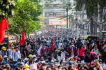 Protest în Yangon, Myanmar