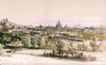 Bucureștiul văzut de pe dealul Filaretului, 1869, acuarelă de Amedeo Preziosi