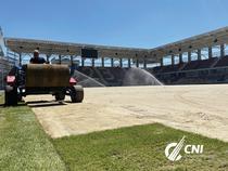 Stadionul Rapid, montare gazon
