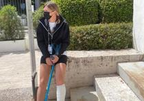 Simona Halep, bandajul si accidentarea suferita la Roma