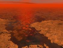 Lac de metan si gheata pe Titan - ilustratie