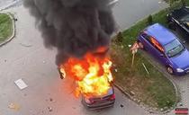 Explozia unei masini in Arad