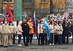 elevi cu portretele lui Putin in maini