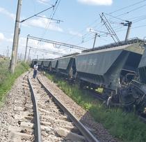 Trenul deraiat la Fetesti