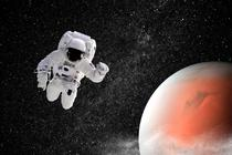 Astronaut langa Marte -ilustratie