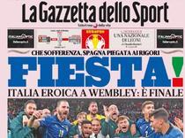 Gazzetta dello Sport si bucuria calificarii in finala Euro 2020