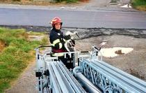 Pui de barza salvat de pompieri