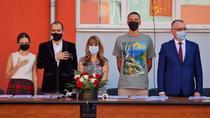 Daniel Baluta la scoala 190, alaturi de David Popovici si Sorin Cimpeanu
