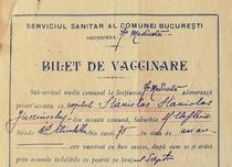 Adeverinta de vaccinare eliberata în 1910