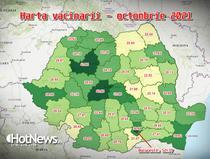Harta vacinarii pe judete - octombrie 2021